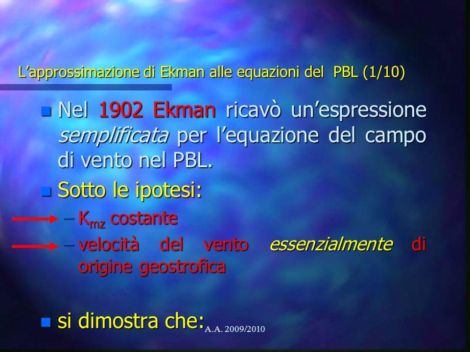 L'approssimazione di Ekman alle equazioni del PBL (1/10)