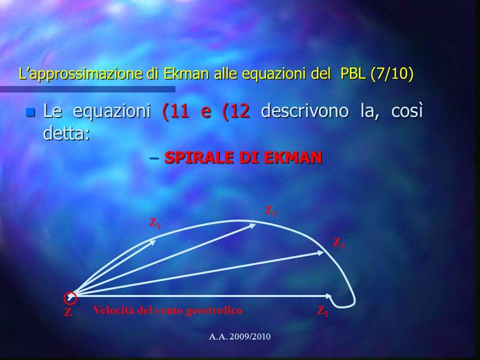 L'approssimazione di Ekman alle equazioni del PBL (7/10)