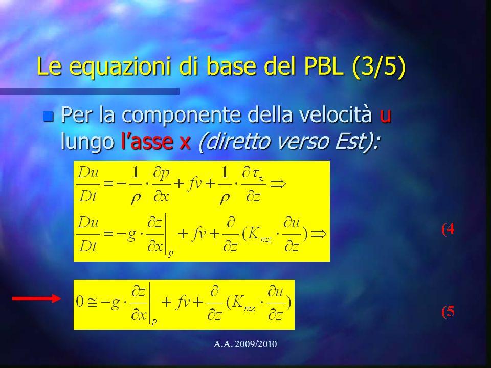 Le equazioni di base del PBL (3/5)