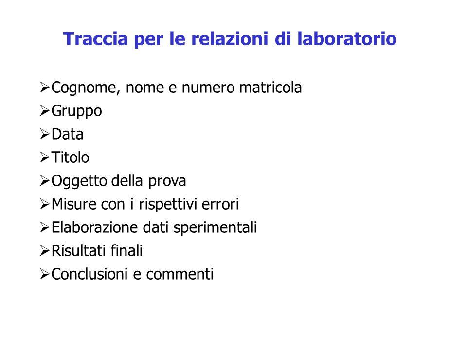 Traccia per le relazioni di laboratorio