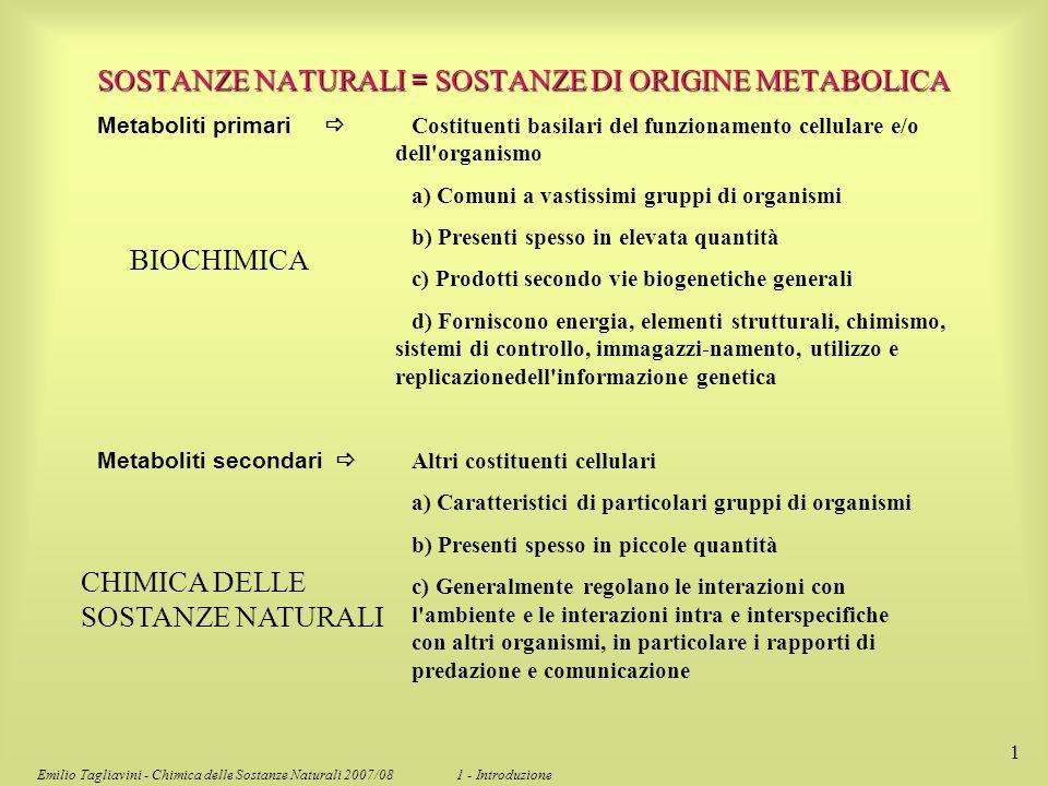 SOSTANZE NATURALI = SOSTANZE DI ORIGINE METABOLICA