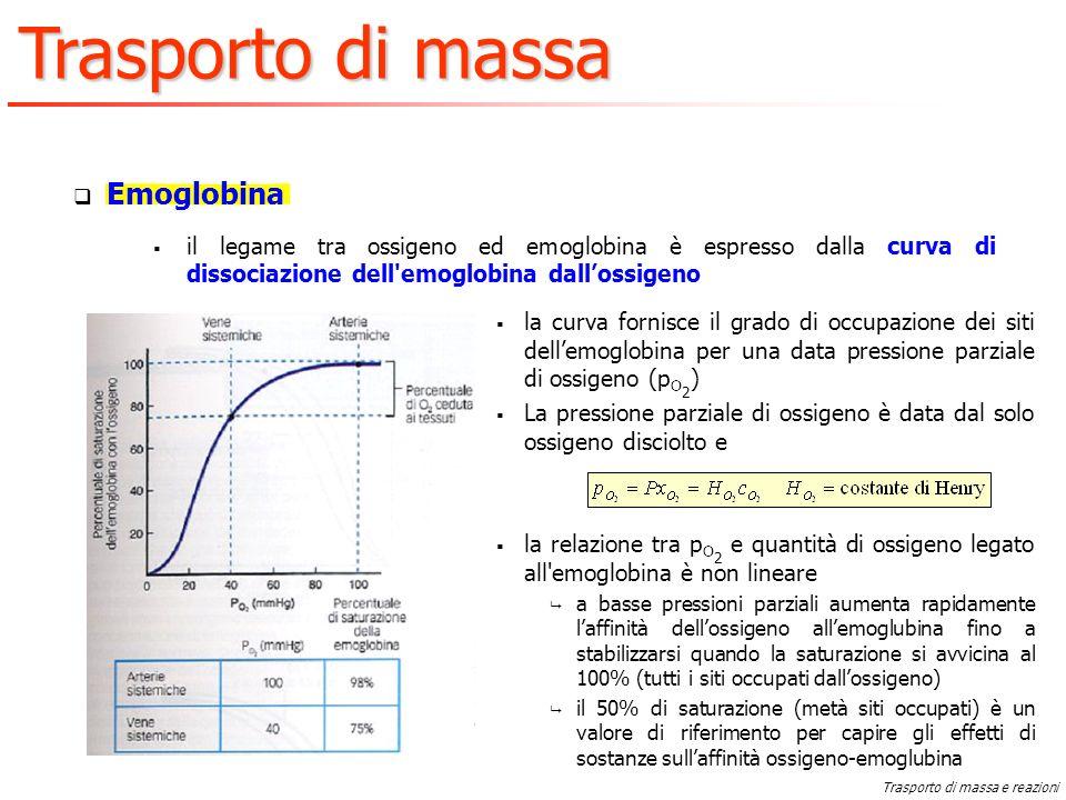 Emoglobina il legame tra ossigeno ed emoglobina è espresso dalla curva di dissociazione dell emoglobina dall'ossigeno.