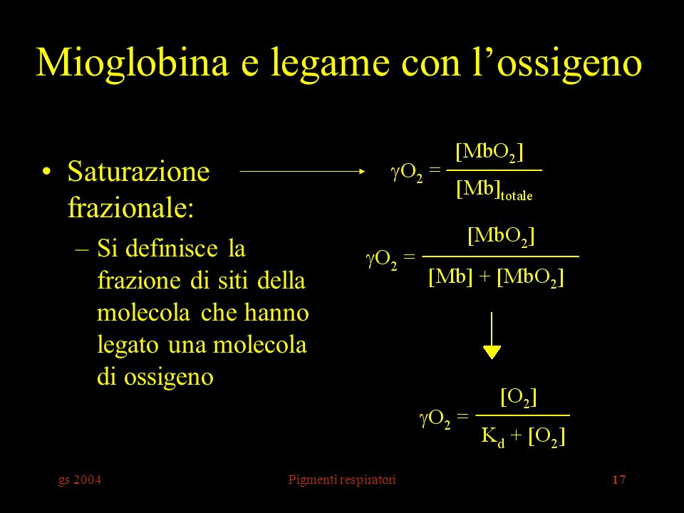 Mioglobina e legame con l'ossigeno