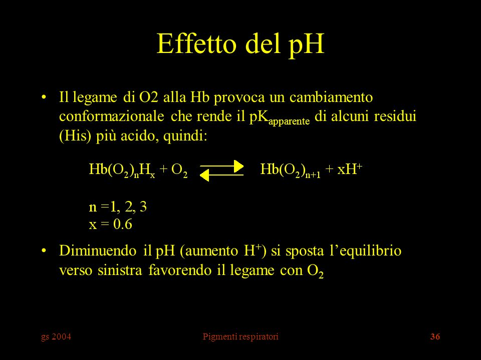 Effetto del pH Il legame di O2 alla Hb provoca un cambiamento conformazionale che rende il pKapparente di alcuni residui (His) più acido, quindi: