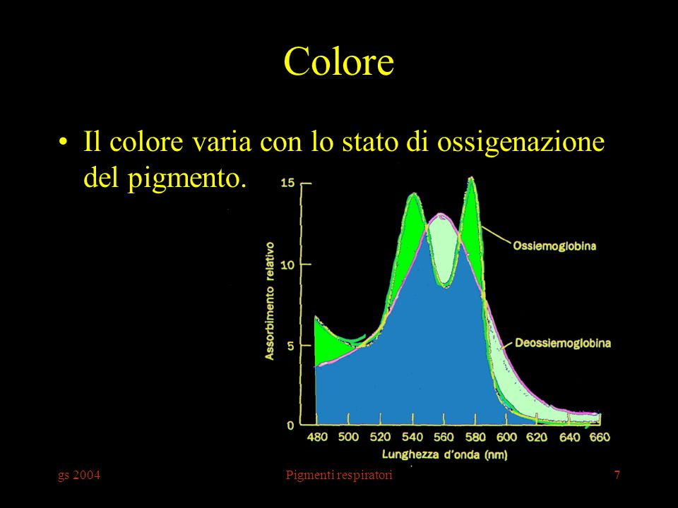 Colore Il colore varia con lo stato di ossigenazione del pigmento.