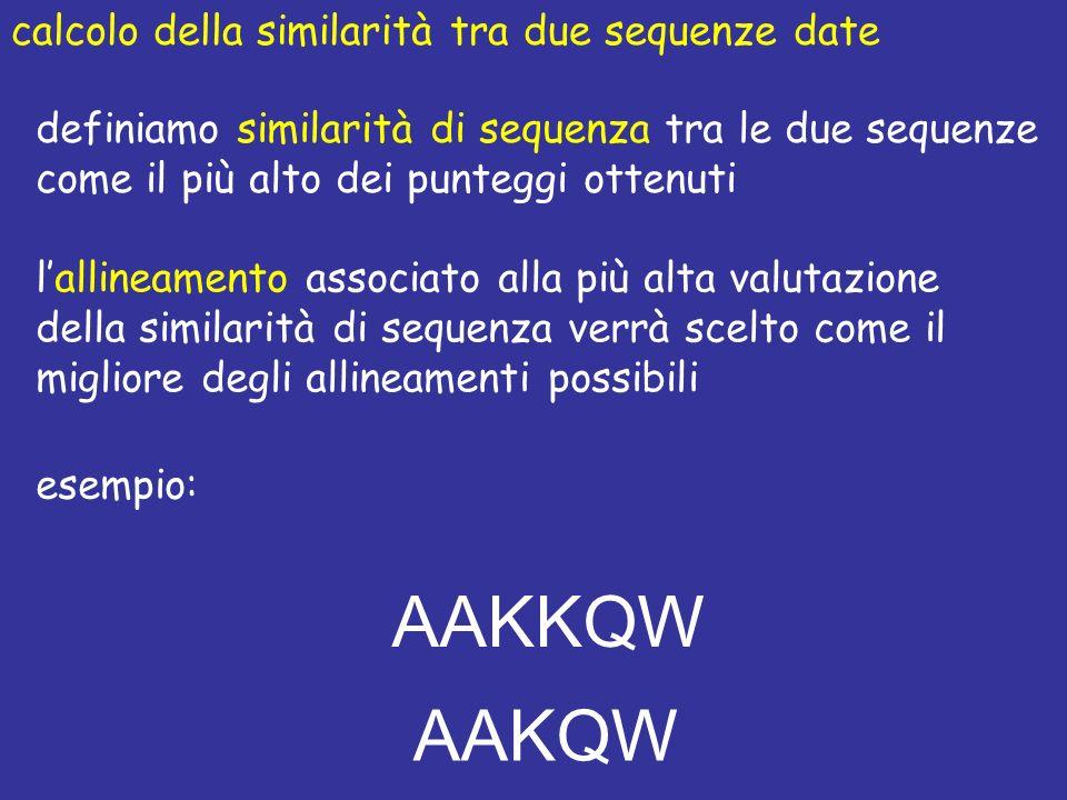 AAKKQW AAKQW calcolo della similarità tra due sequenze date