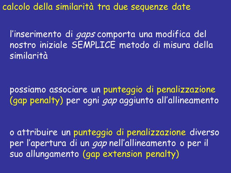 calcolo della similarità tra due sequenze date