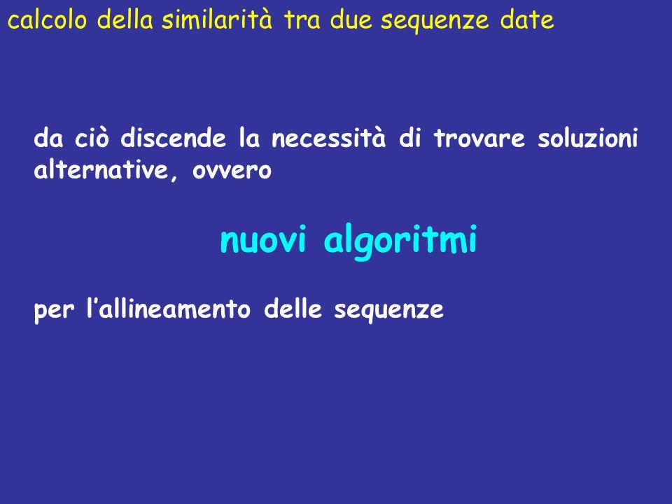nuovi algoritmi calcolo della similarità tra due sequenze date