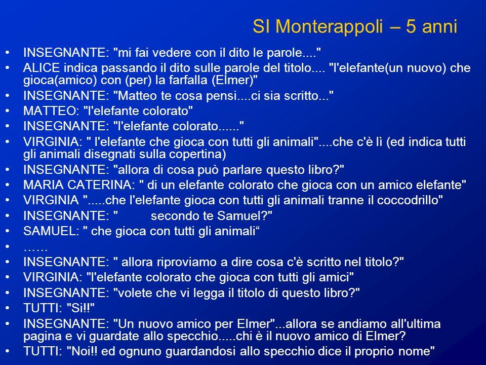 SI Monterappoli – 5 anni INSEGNANTE: mi fai vedere con il dito le parole....