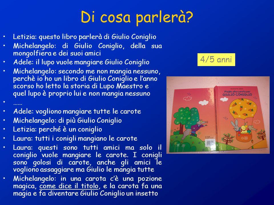 Di cosa parlerà Letizia: questo libro parlerà di Giulio Coniglio. Michelangelo: di Giulio Coniglio, della sua mongolfiera e dei suoi amici.