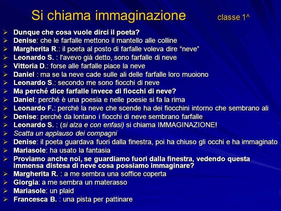 Si chiama immaginazione classe 1^