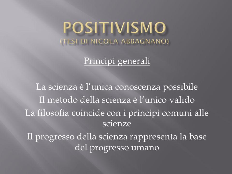 Positivismo (tesi di Nicola Abbagnano)