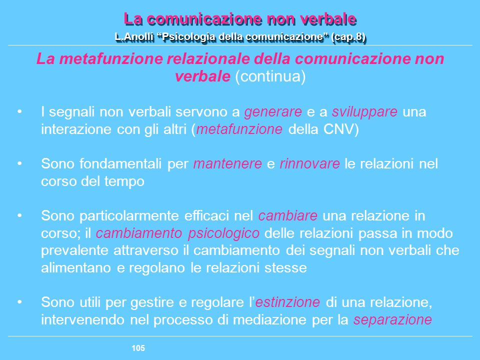 La metafunzione relazionale della comunicazione non
