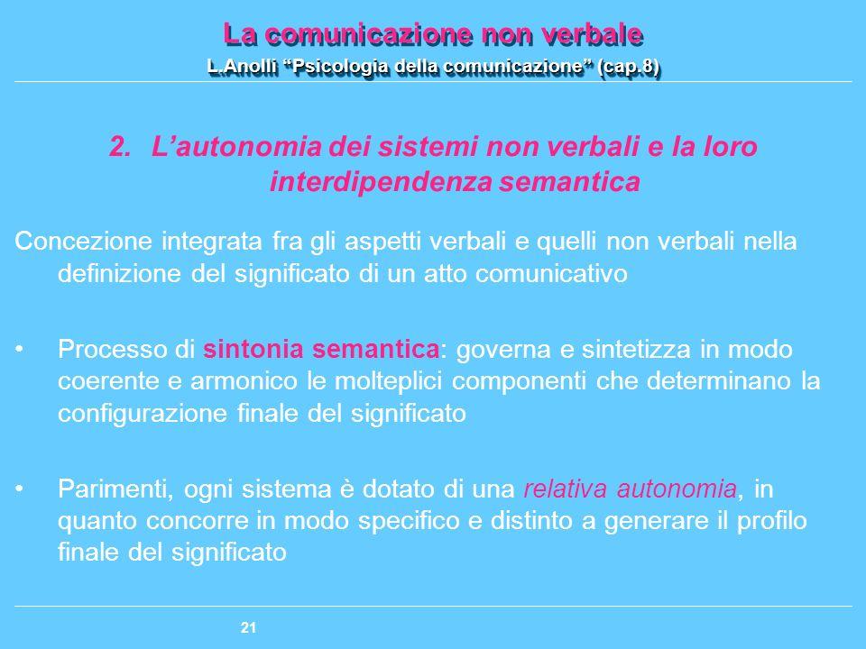 L'autonomia dei sistemi non verbali e la loro interdipendenza semantica