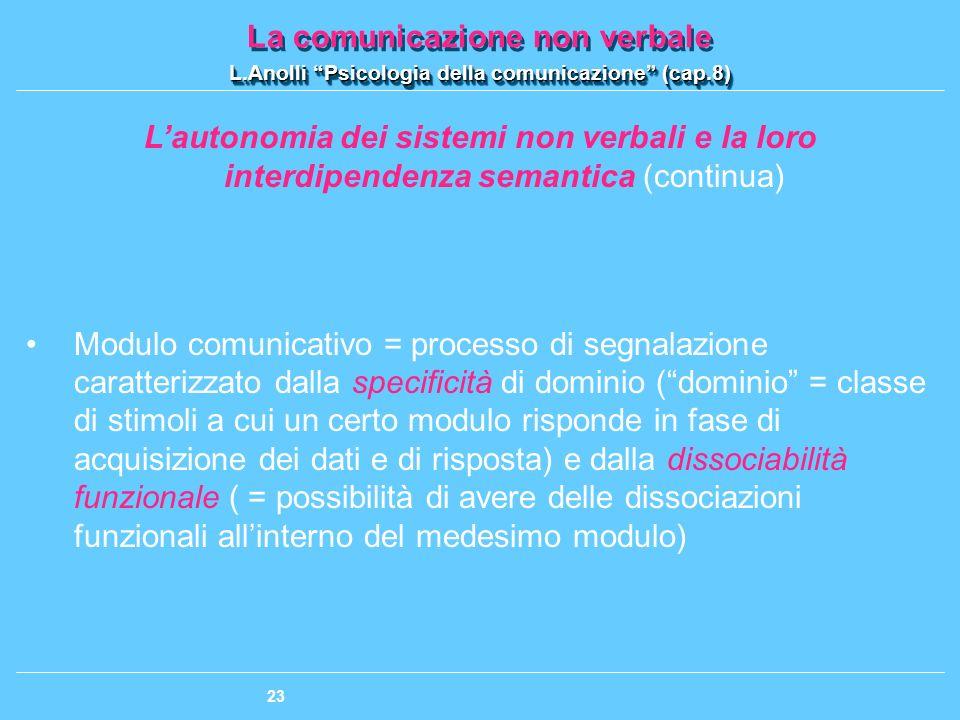 L'autonomia dei sistemi non verbali e la loro interdipendenza semantica (continua)
