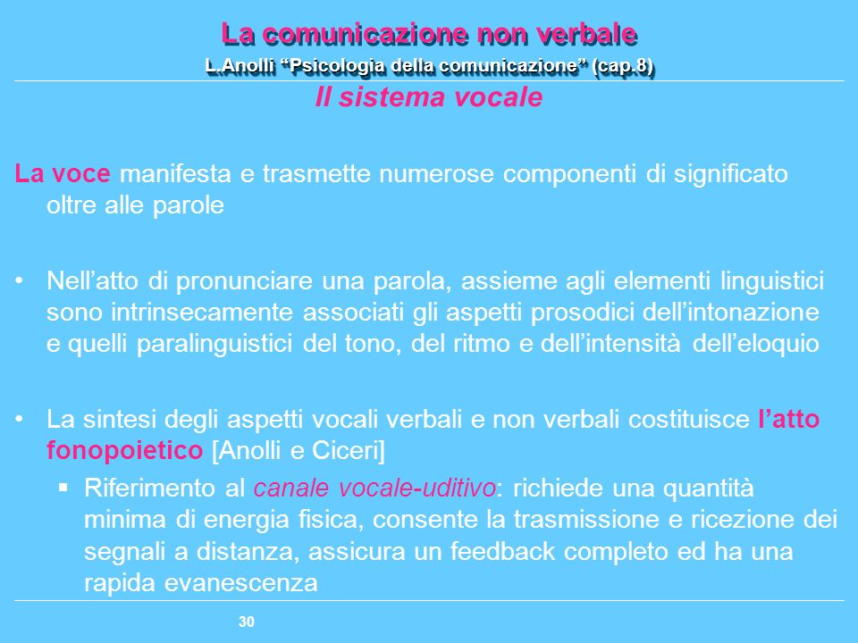 Il sistema vocale La voce manifesta e trasmette numerose componenti di significato oltre alle parole.