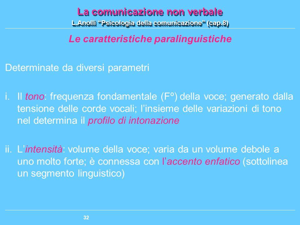 Le caratteristiche paralinguistiche