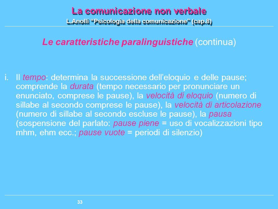 Le caratteristiche paralinguistiche (continua)