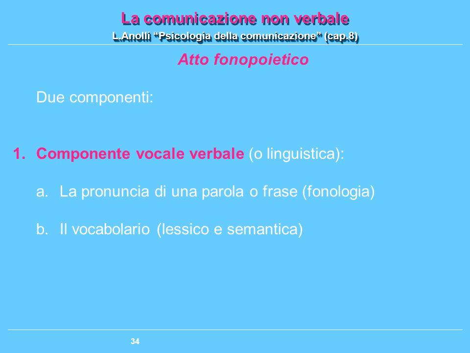 Atto fonopoietico Due componenti: Componente vocale verbale (o linguistica): La pronuncia di una parola o frase (fonologia)