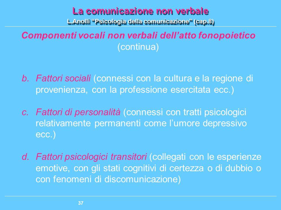 Componenti vocali non verbali dell'atto fonopoietico