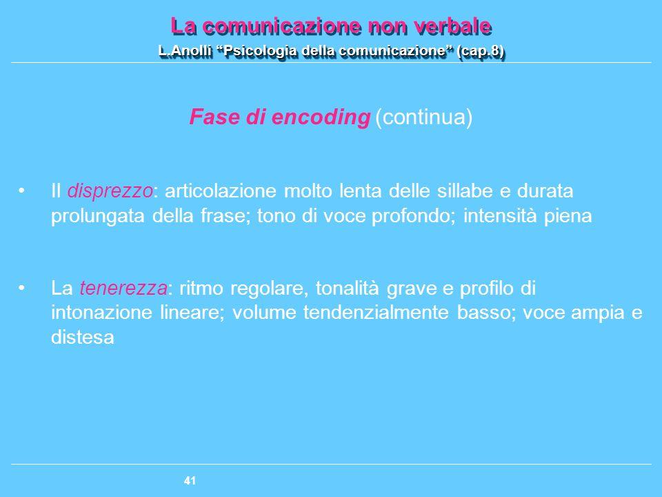 Fase di encoding (continua)