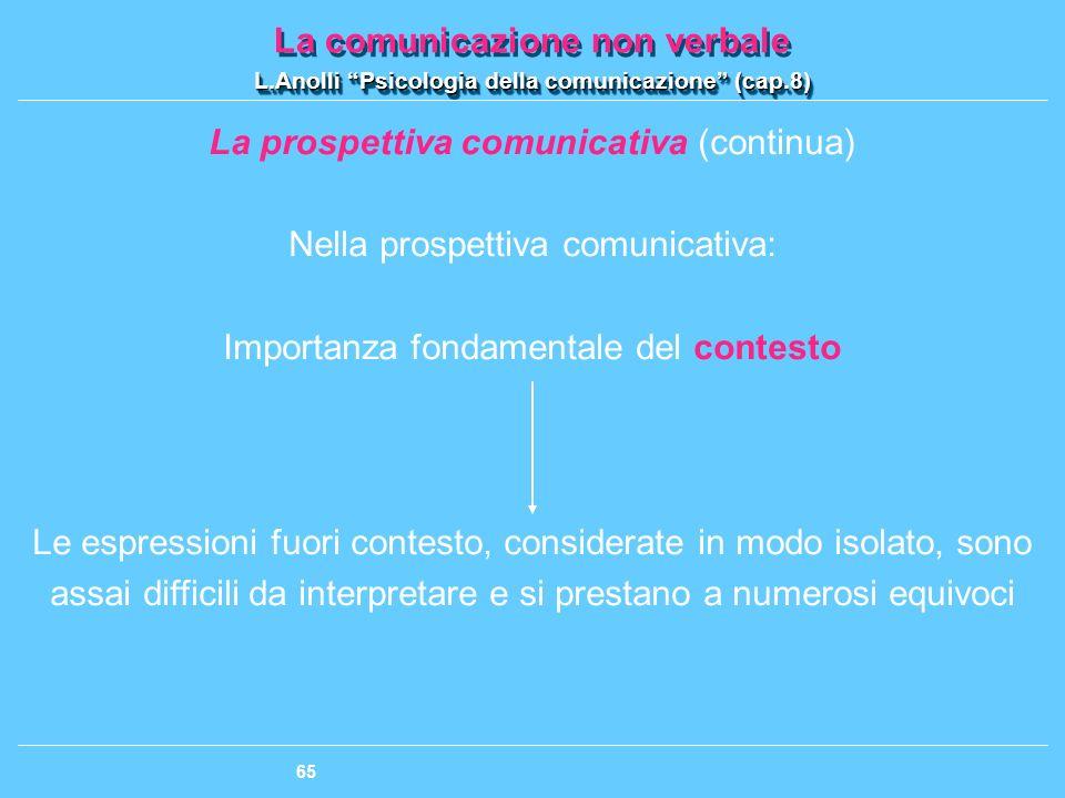 La prospettiva comunicativa (continua) Nella prospettiva comunicativa: