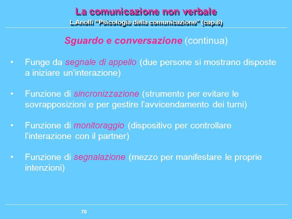 Sguardo e conversazione (continua)