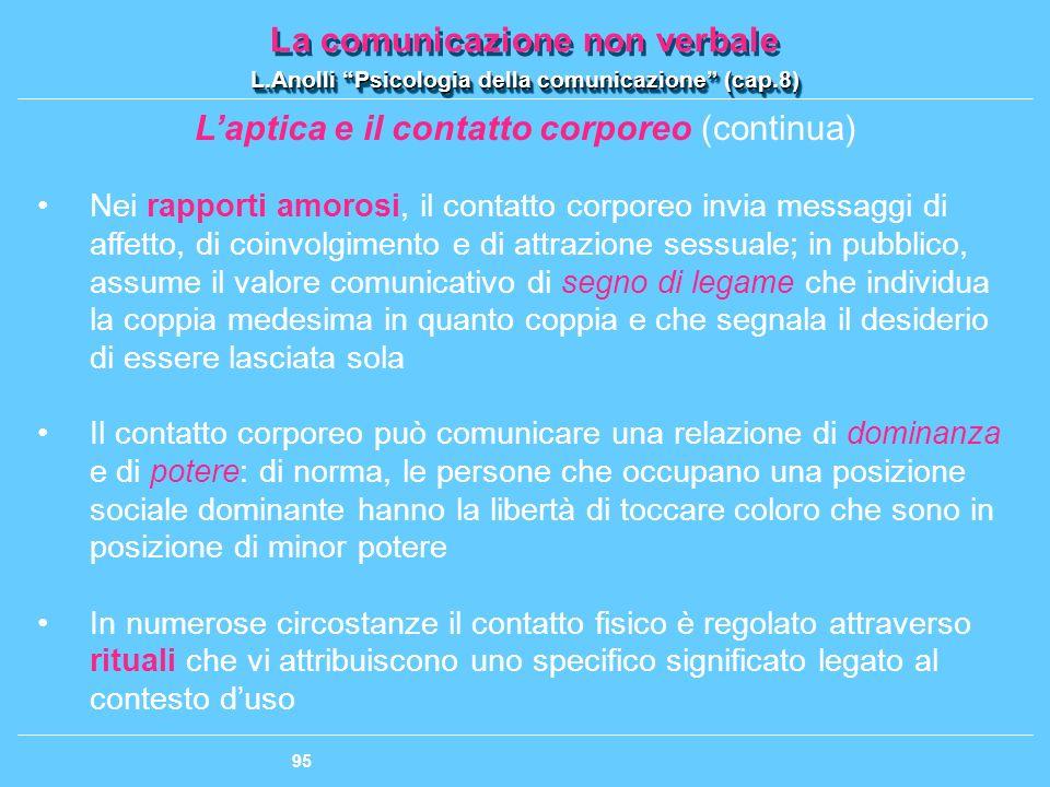 L'aptica e il contatto corporeo (continua)