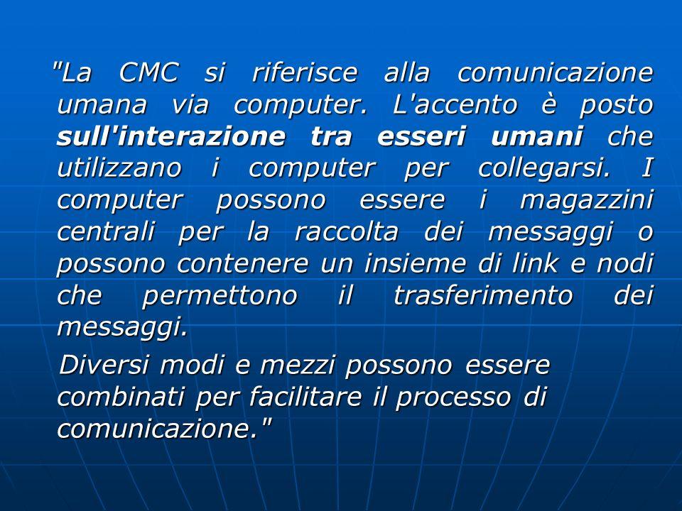 La CMC si riferisce alla comunicazione umana via computer