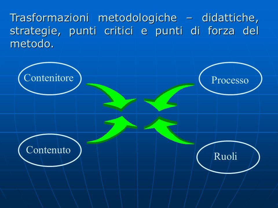 Trasformazioni metodologiche – didattiche, strategie, punti critici e punti di forza del metodo.
