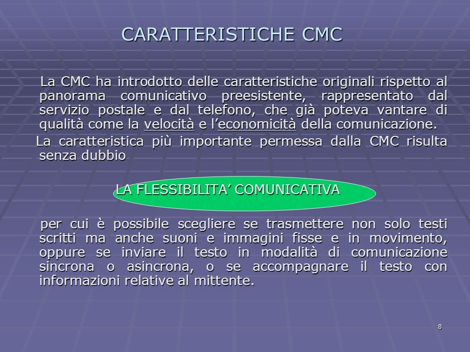CARATTERISTICHE CMC