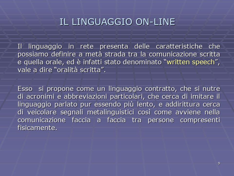 IL LINGUAGGIO ON-LINE