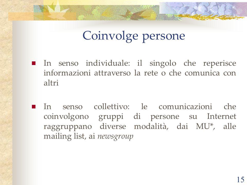 Coinvolge persone In senso individuale: il singolo che reperisce informazioni attraverso la rete o che comunica con altri.