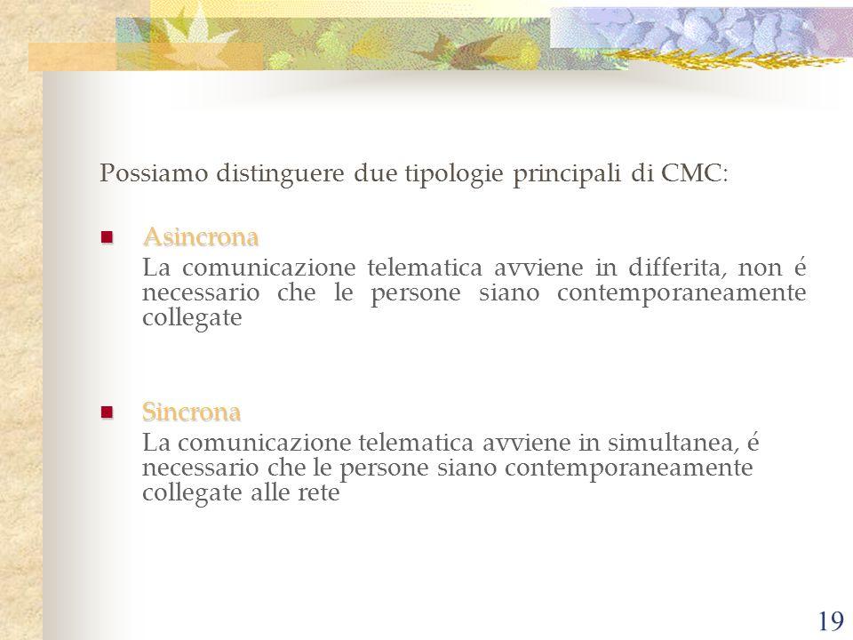 Possiamo distinguere due tipologie principali di CMC: