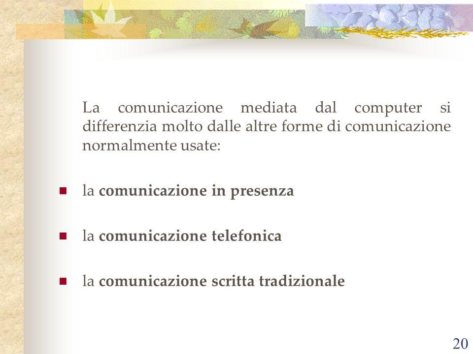 La comunicazione mediata dal computer si differenzia molto dalle altre forme di comunicazione normalmente usate: