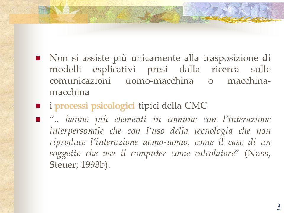 Non si assiste più unicamente alla trasposizione di modelli esplicativi presi dalla ricerca sulle comunicazioni uomo-macchina o macchina-macchina