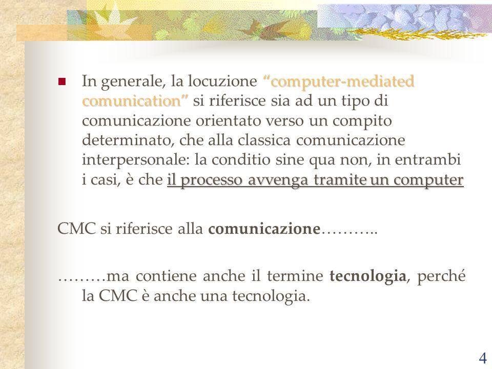 In generale, la locuzione computer-mediated comunication si riferisce sia ad un tipo di comunicazione orientato verso un compito determinato, che alla classica comunicazione interpersonale: la conditio sine qua non, in entrambi i casi, è che il processo avvenga tramite un computer
