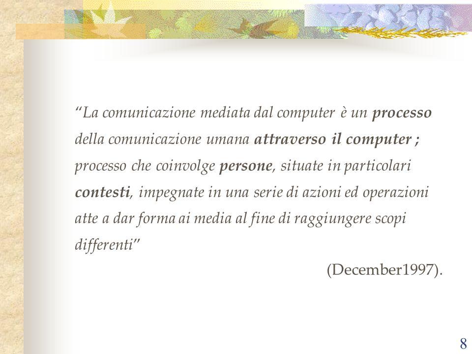 La comunicazione mediata dal computer è un processo della comunicazione umana attraverso il computer ; processo che coinvolge persone, situate in particolari contesti, impegnate in una serie di azioni ed operazioni atte a dar forma ai media al fine di raggiungere scopi differenti