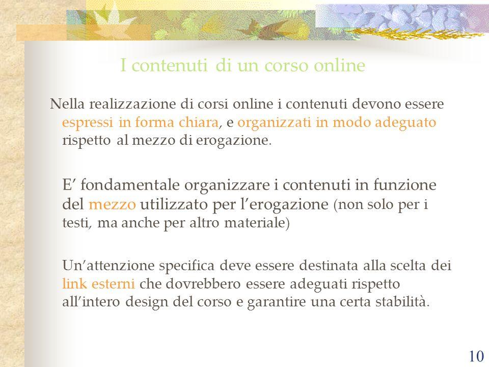 I contenuti di un corso online