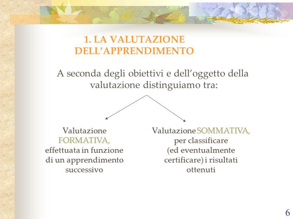 1. LA VALUTAZIONE DELL'APPRENDIMENTO