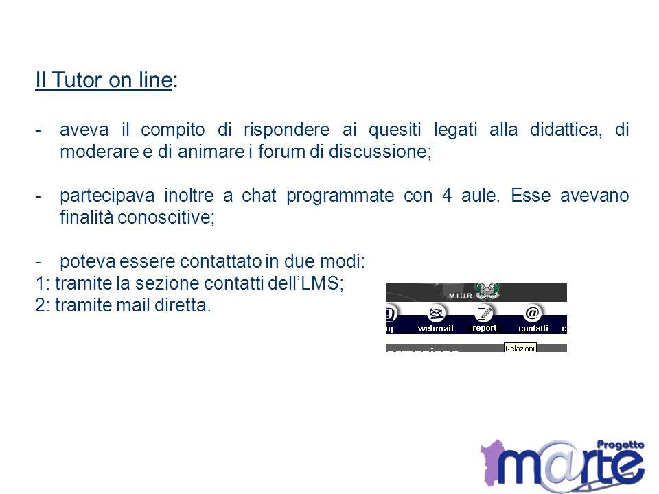 Il Tutor on line: aveva il compito di rispondere ai quesiti legati alla didattica, di moderare e di animare i forum di discussione;