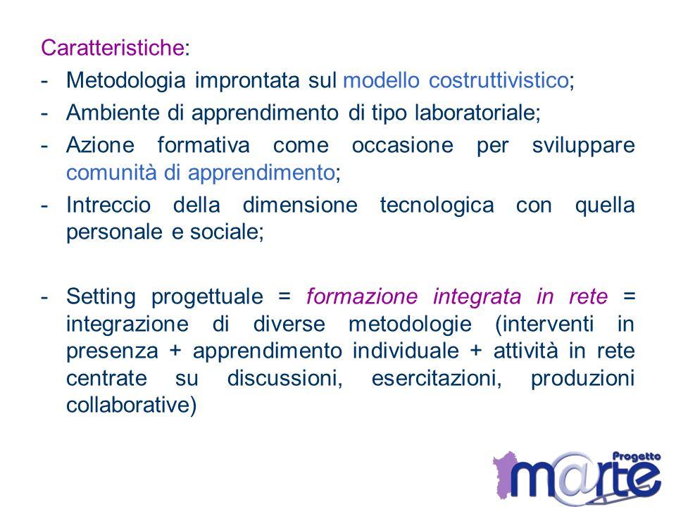 Caratteristiche: Metodologia improntata sul modello costruttivistico; Ambiente di apprendimento di tipo laboratoriale;