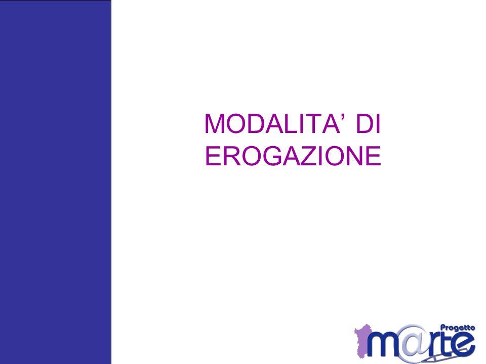 MODALITA' DI EROGAZIONE