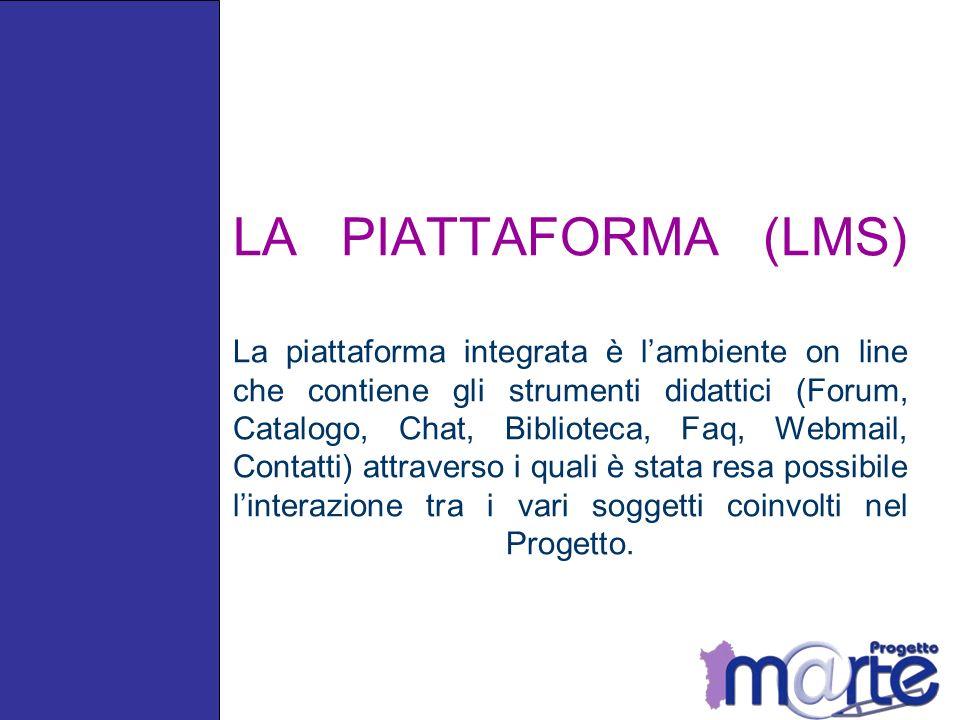 LA PIATTAFORMA (LMS) La piattaforma integrata è l'ambiente on line che contiene gli strumenti didattici (Forum, Catalogo, Chat, Biblioteca, Faq, Webmail, Contatti) attraverso i quali è stata resa possibile l'interazione tra i vari soggetti coinvolti nel Progetto.
