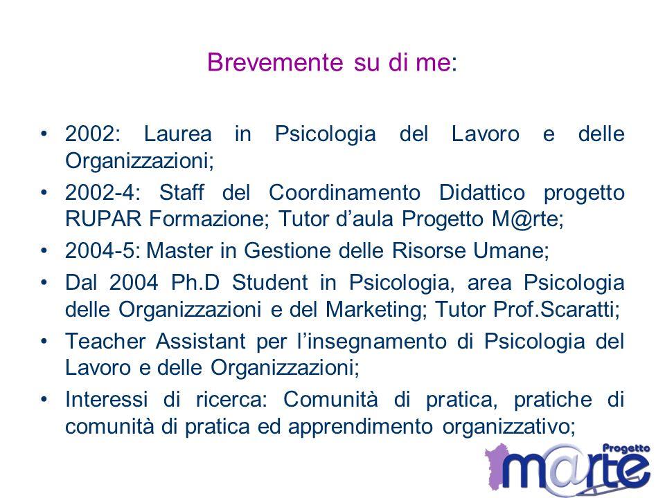 Brevemente su di me: 2002: Laurea in Psicologia del Lavoro e delle Organizzazioni;