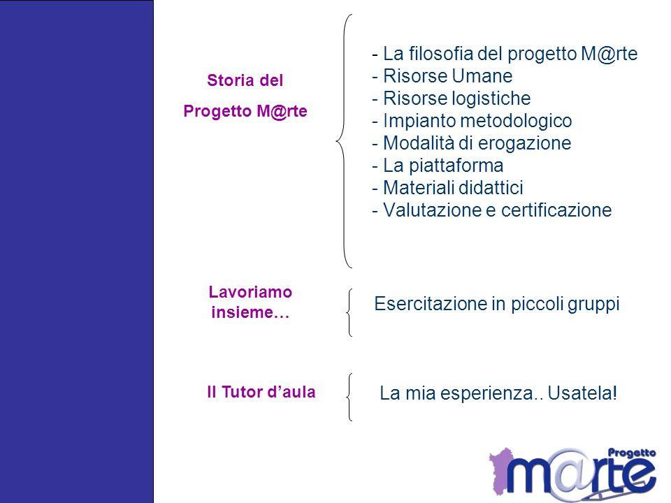 - La filosofia del progetto M@rte - Risorse Umane - Risorse logistiche - Impianto metodologico - Modalità di erogazione - La piattaforma - Materiali didattici - Valutazione e certificazione