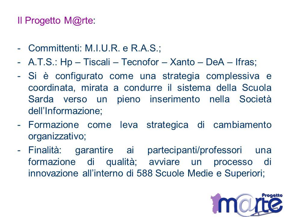 Il Progetto M@rte: Committenti: M.I.U.R. e R.A.S.; A.T.S.: Hp – Tiscali – Tecnofor – Xanto – DeA – Ifras;