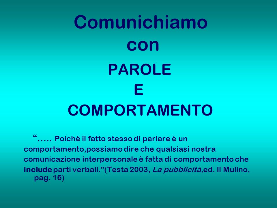 Comunichiamo con E COMPORTAMENTO PAROLE