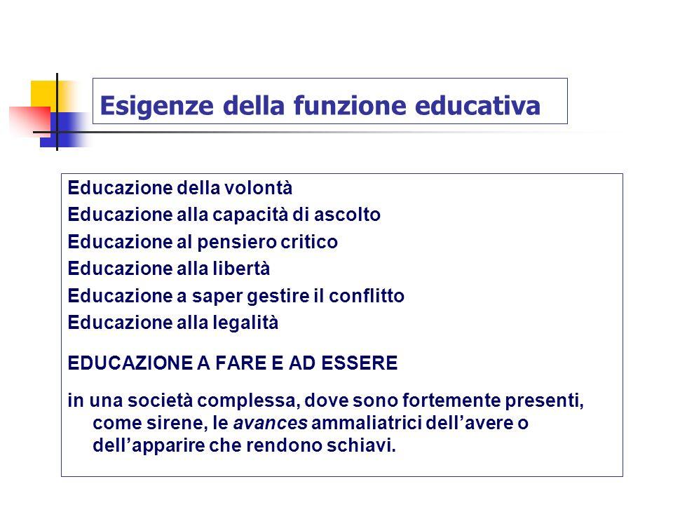 Esigenze della funzione educativa