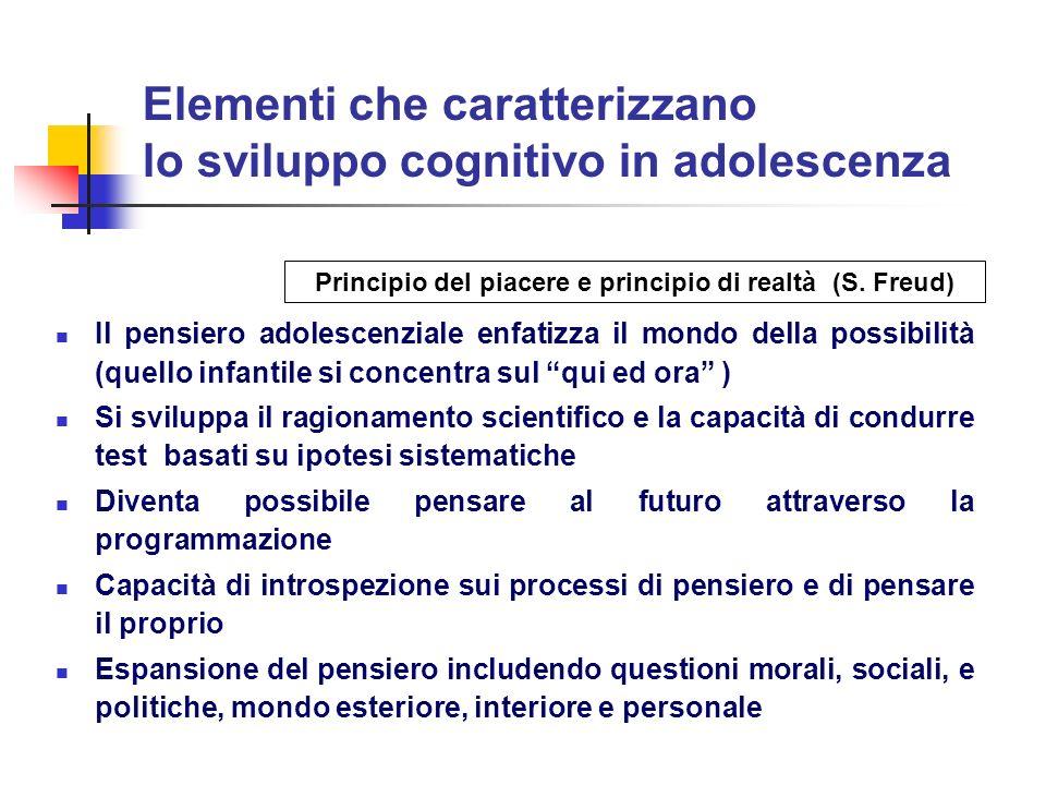 Elementi che caratterizzano lo sviluppo cognitivo in adolescenza